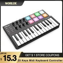 Worlde 25 teclas midi teclado controlador 25-chave usb midi controlador 8 rgb retroiluminado gatilho almofadas 6.35mm pedal jack teclado piano