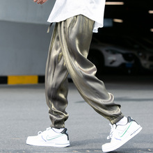 2020 New Mens Summer Smooth Fabric Silk Nine-point Trousers Ice Silk Casual Loose Shiny Pants Thin Color Track Harem Pants
