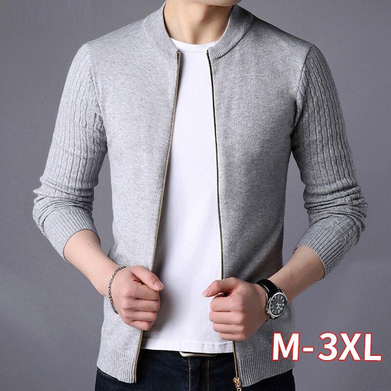 Men's Zipper Sweater Cardigan Solid Color Sweaters Knitwear Warm Sweatercoat Casual Cardigans Men Clothing Grey Long Sleeve