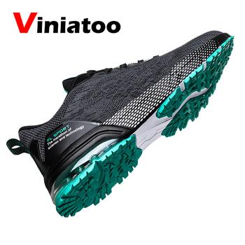 Męskie buty do biegania w terenie podeszwa amortyzująca na zewnątrz duże rozmiary 39-46 sportowe trampki dla mężczyzn czarne szare oddychające trampki sportowe tanie i dobre opinie Viniatoo LIFESTYLE Stabilność Hard court Zaawansowane Dla dorosłych Oddychająca Masaż Mesh (air mesh) Średnie (b m)