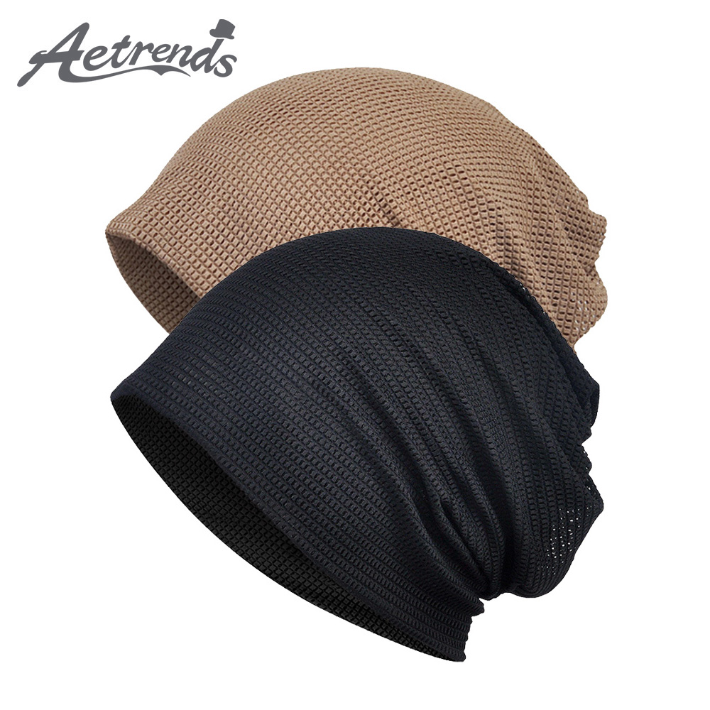 [AETRENDS] Men Women Baggy Slouchy Beanie Chemo Hat Cap Scarf Outdoor Sport Headwear Skull Caps Z-10003
