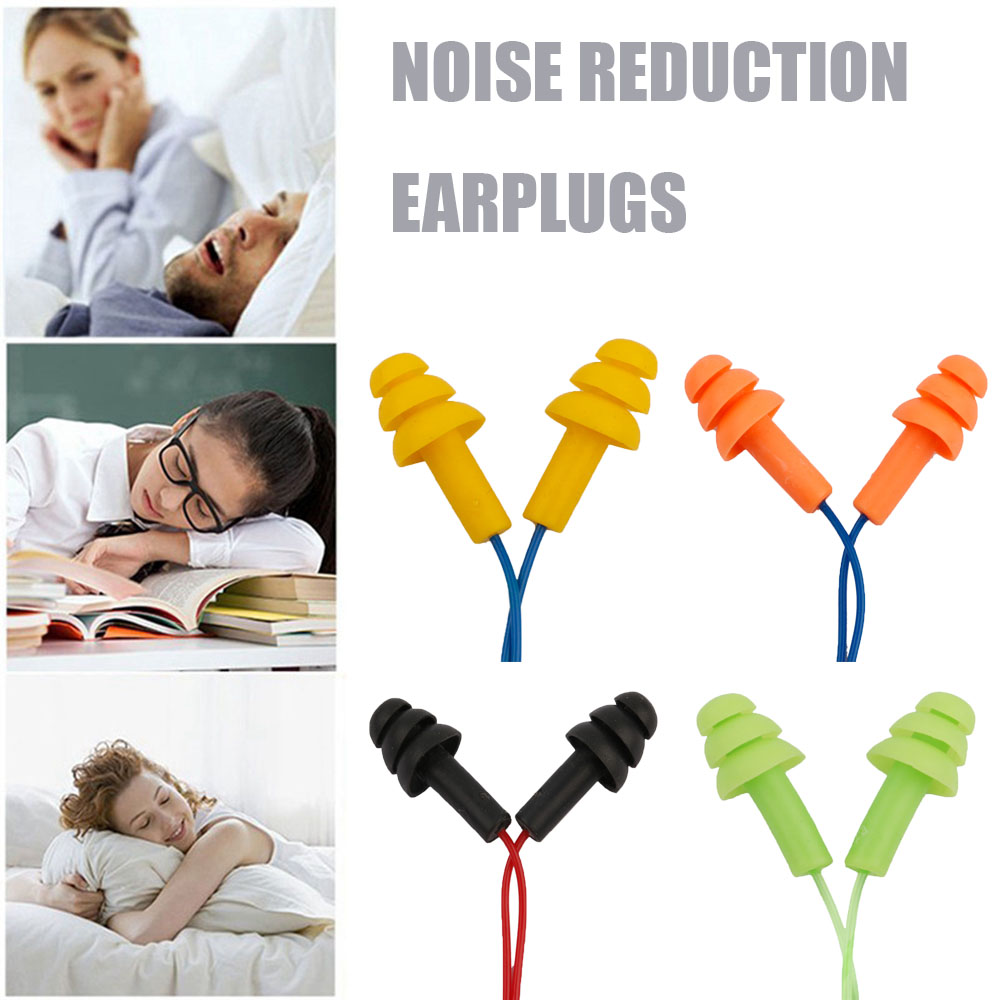 Waterproof Soft Silicone Corded Ear Plugs Travel Sleep Noise Prevention Earplugs Noise Reduction Swimming Earplugs Earmuff