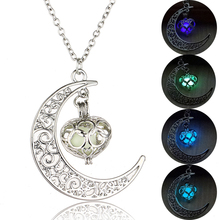 2019 Glowing Moon Pendant Necklace Women Hollow Heart Pendant Luminous Stone Pendant Necklace Glow in the Dark Women Jewelry new luminous stone necklace fashion hollow animal shape glow in the dark pendant necklace charm halloween jewelry for women gift