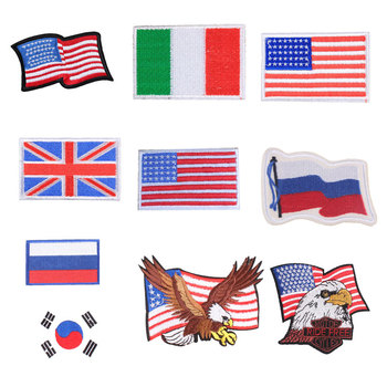 Country Flag Patch Stripes Embroidered Russia Turkey France EU Netherlands Flag Tactical Military Patches Army Applique Stripe image
