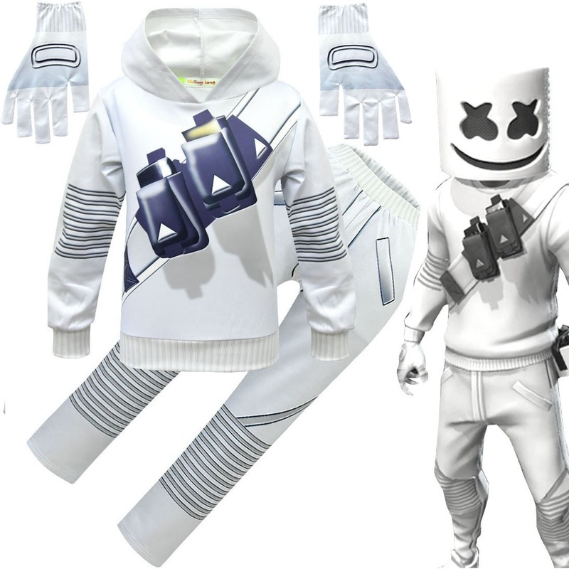 Halloween Electronic Music Marshmallow Cosplay Costume Kids Boy Anime Clothes DJ Electric Voice Hoodie Sweater Pants Mask Set