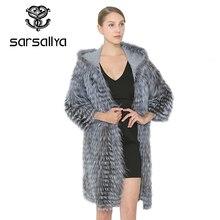 SARSALLYA ผู้หญิงจริงเงินฟ็อกซ์ขนสัตว์แท้ขนสัตว์ผู้หญิงเสื้อขนสัตว์ยาว Coat เสื้อกั๊กฤดูหนาวหญิง Outerwear