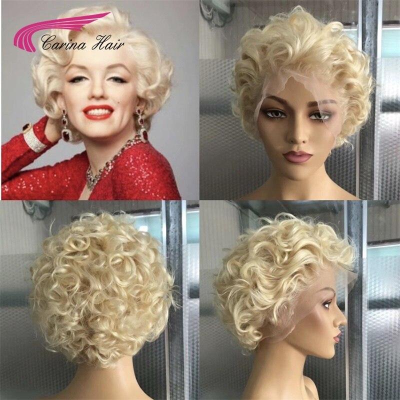 Carina 13x6 court Bob perruque préplumée Remy cheveux dentelle avant cheveux humains perruques brésilien miel Blonde Ombre dentelle avant Bob perruques