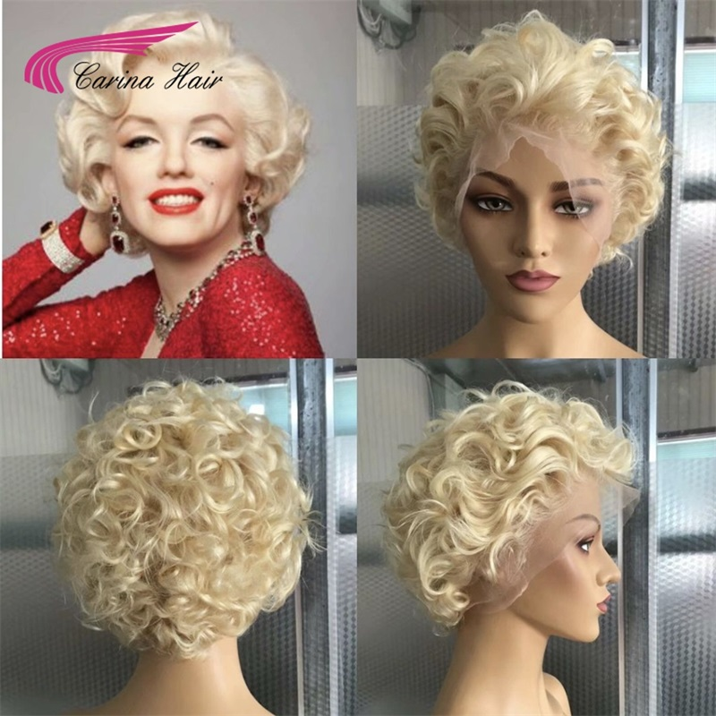 Carina 150/180 Density 13x6 Blonde Brazilian 613 Short Bob Lace Front Human Hair Wigs For Women Transparent Lace Front Wig Curly image