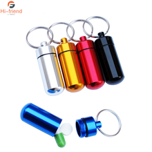 9Pcs/lot  Aluminum alloy waterproof small bottle keychain outdoor mini pill box with storage and sealed Wholesale discount