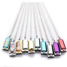 Мини 4 отверстия 8 тон Гармоника металлическое ожерелье дизайн цепи игрушка подарок случайного цвета