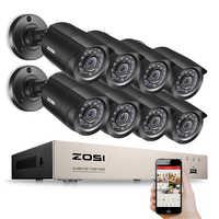 ZOSI 8CH CCTV System HD-TVI DVR kit 8PCS 720p/1080p Home Security Waterproof Outdoor Night Vision Camera Video Surveillance Kit