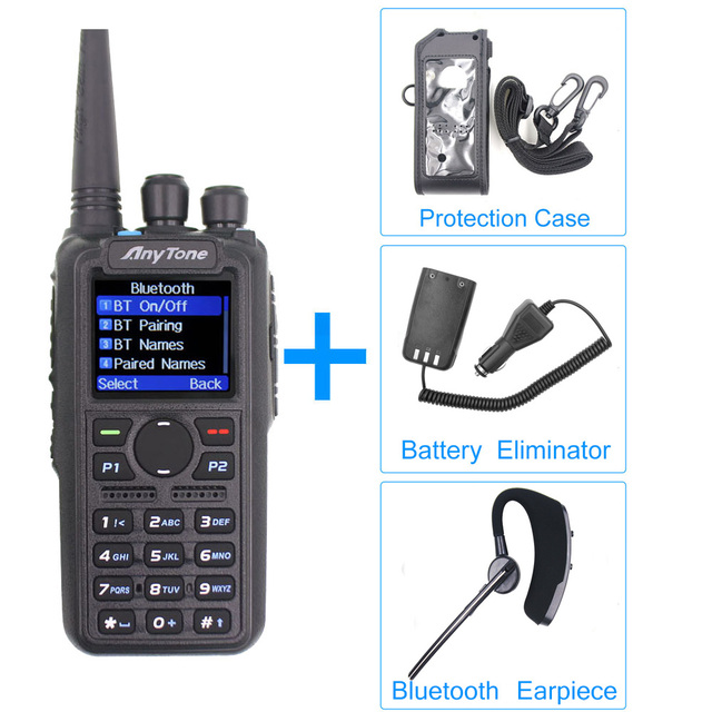 Anytone AT D878UV Plus Radio DMR VHF, 136 174MHz, UHF 400 470MHz, con GPS, APRS, Bluetooth, Walkie Talkie, estación de Radio aficionado con Cable
