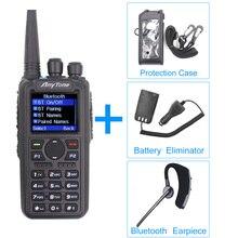 Walkie talkie anytone AT D878UV plus dmr, rádio vhf 136 174mhz uhf 400 470mhz com gps, bluetooth estação de rádio ham com cabo