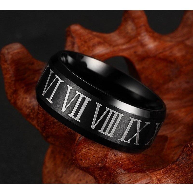Vnox romen rakamları siyah halka paslanmaz çelik serin erkekler yüzük kokteyl düğün takısı