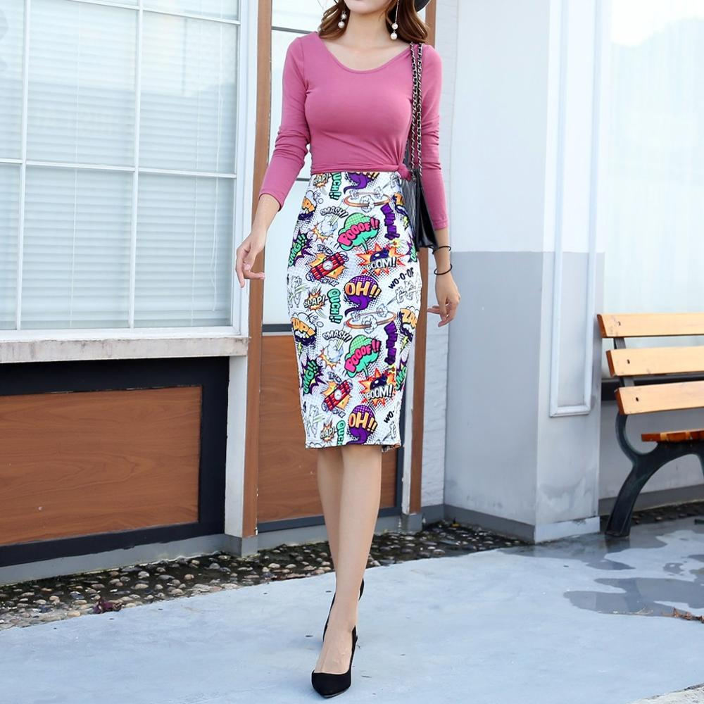 QRWR Multicolor Fashion 2020 Women Summer Skirt Knee Length High Waist Ladies Skirts Vintage Office Lady Style Sexy Skirts Women