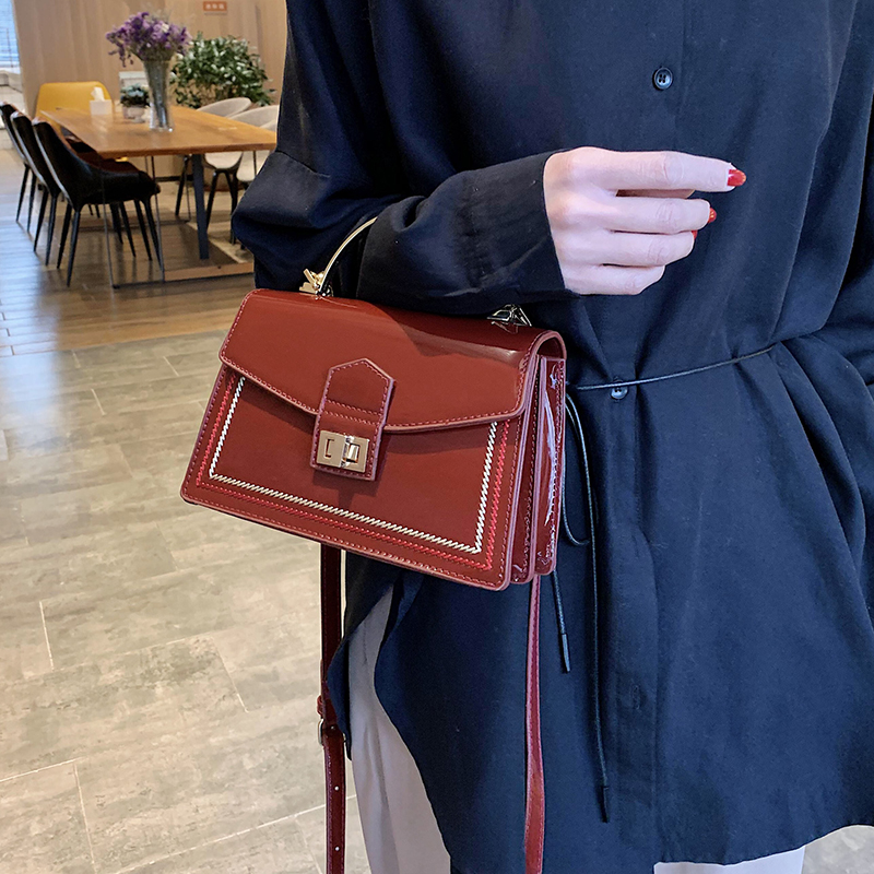 Patent Leather Crossbody Bags For Women 2020 Fashion Handbags With Iron Handle Lady Small Shoulder Messenger Bag