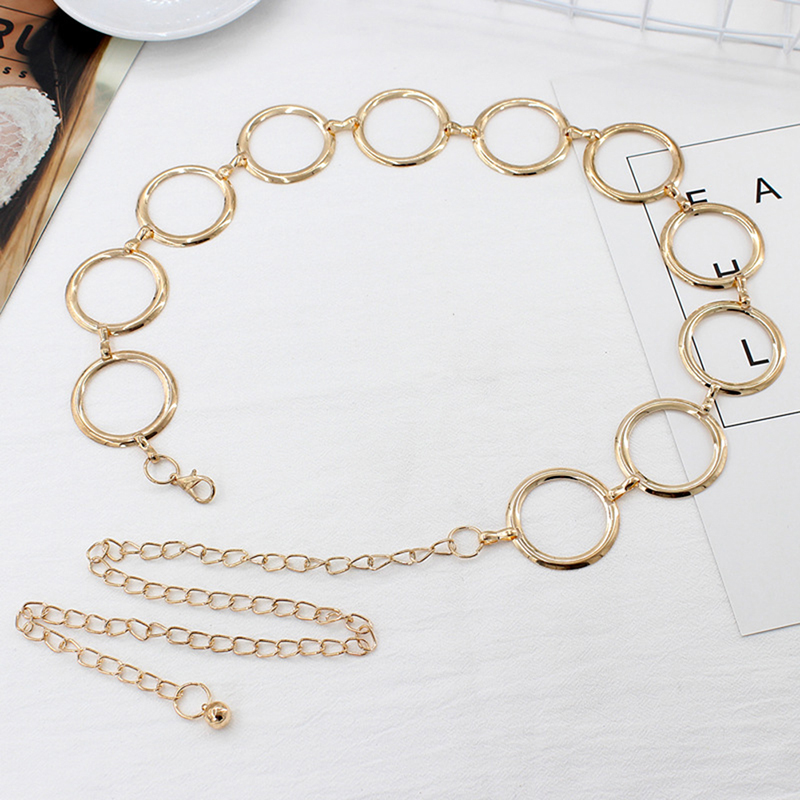 Metal Belt For Women Elegant Gold Female Waist Chain Dress Decoration Big Ring Belt