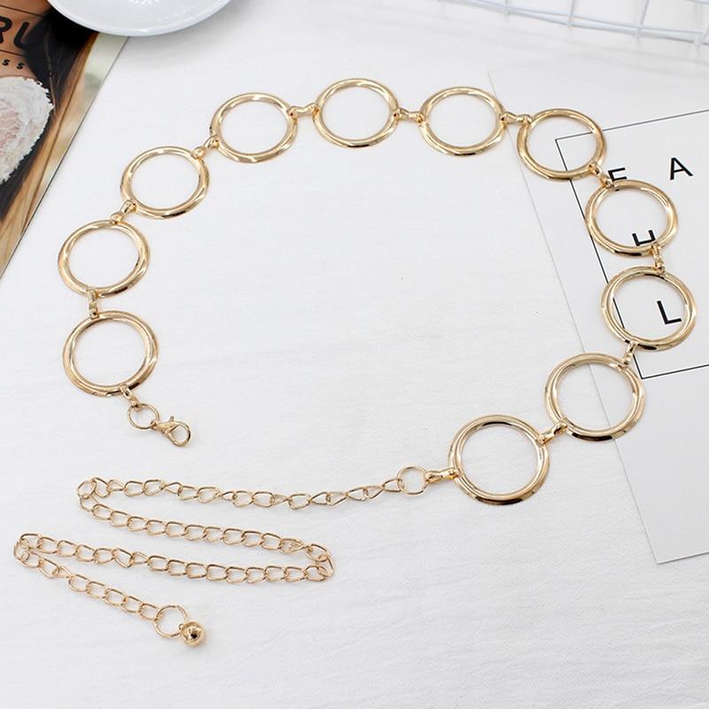 Metal Belt For Women Elegant Gold Female Waist Chain Dress Decoration Big Ring Belt