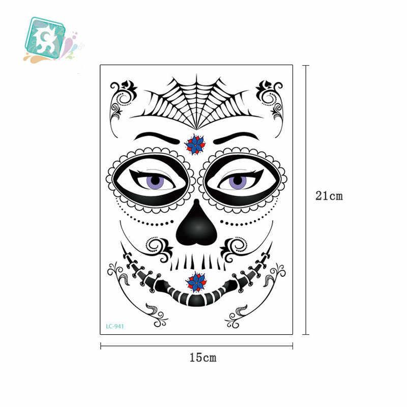 1 шт. маска временные татуировки наклейки День Череп мертвеца лицо Хэллоуин вечерние классная Красивая татуировка водонепроницаемый передача тела Искусство