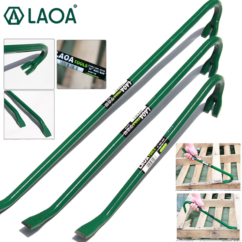 LAOA Heavy Crowbar Professional Nail lifter High carbon steel Iron Bars Wooden box disassembly tool