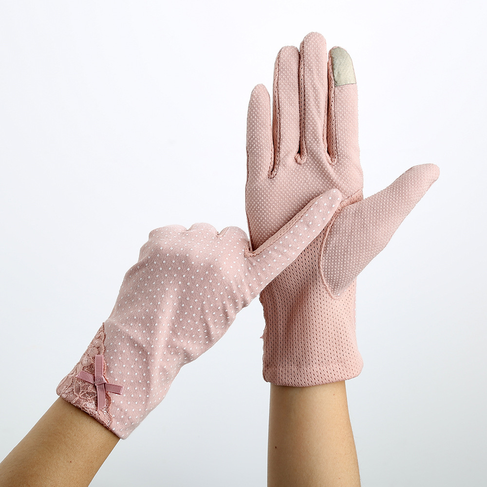 Driving Summer Sunscreen Gloves Women Drive Girls Lady Thin Cotton Decent Lace Sun UV Resistant Touch Screen Gloves