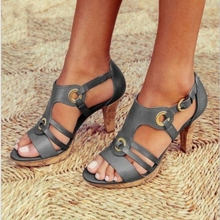 summer New Women  Sandals Sexy Chunky-Heel  Open-Toe Fashion  Buckle Leather high-heeled Solid color women sandals summer new 12cm high heeled sandals cross strap women sandals stiletto thin heel open toe sexy party bridals lady shoe 3a 4c