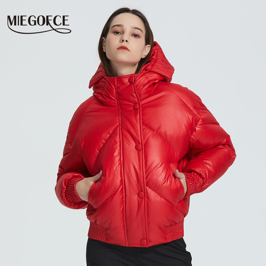 MIEGOFCE 2020 New Design Winter Coat Women's Jacket Insulated Cut Waist Length With Pockets Casual Parka Stand Collar Hooded 1