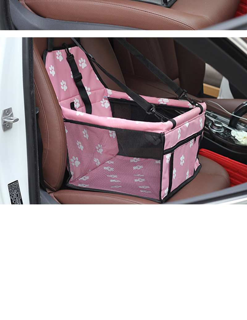 Pet Dog Car Carrier Seat Bag Waterproof Basket Folding Hammock Pet Carriers Bag For Small Cat Dogs Safety Travelling Mesh 8