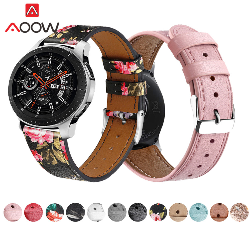 22mm Genuine Leather Watchband For Samsung Galaxy 46mm Flower Printing Strap Bracelet Band For Gear S3 Huami Amazfit Accessories