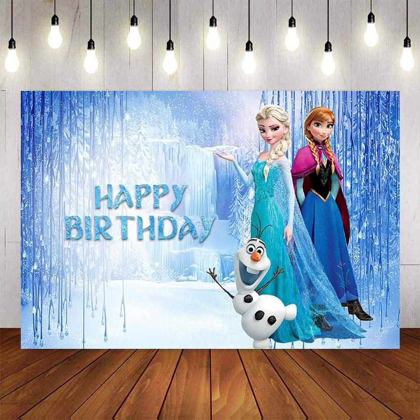 Фон для фотосъемки Королева Эльза с Анной с друзьями Сказочный Ледяной Мир фоны для детской фотосессии на день рождения|Фон| | - AliExpress