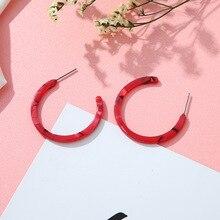 Hello Miss Fashion simple geometric earrings semicircular acrylic retro hoop leopard womens