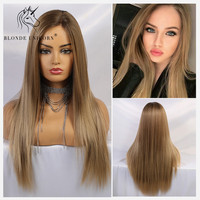 Blonde Unicorn Synthetic Lace Front Wigs for Women Long Straight Ombre Brown Center Parting Hand Tied Wedding Hair Lace Wigs