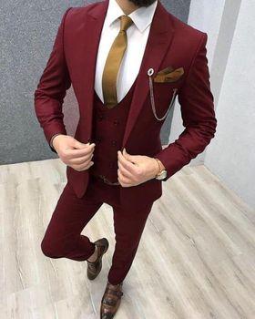 Three Piece Royal Blue Men Suits Peaked Lapel Custom Made Wedding Tuxedos Slim Fit Male Suits (Jacket + Pants + Vest+Tie) 14