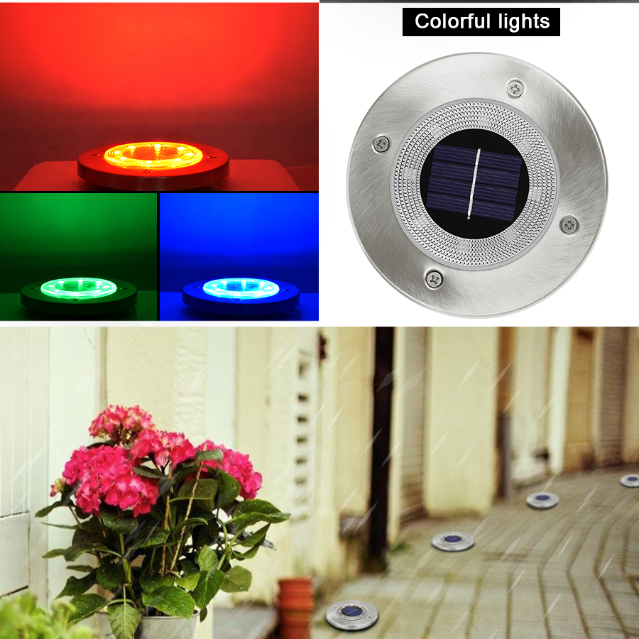 Round Shaped In Ground Solar Outdoor light with 8 LED and Infrared Light Sensor for Garden Pathway 8
