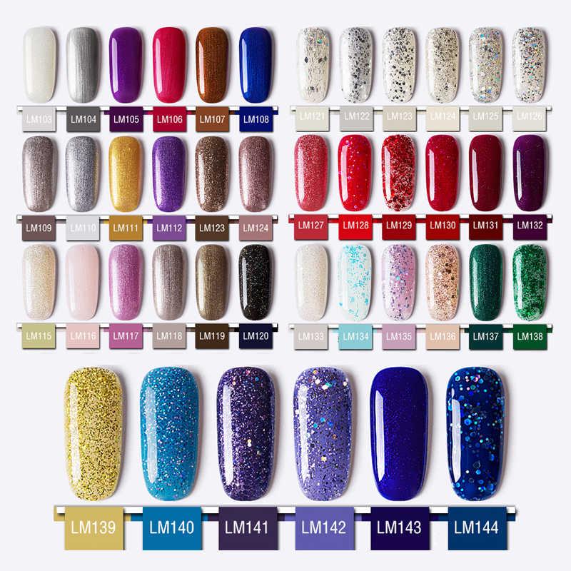 Lamemoria 8ml holografik Glitter jel oje parlak pul UV jel vernik lazer kapalı islatın UV jel tırnak sanat manikür taban kat