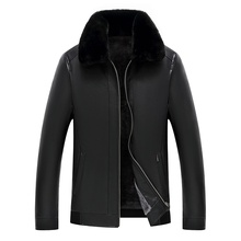 Mens Leather Jacket Winter Coat Faux Fur Coats Pu Jackets Men Woolen