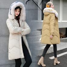 フード付きコートコートパーカーオーバーサイズカラージャケット中長期女性冬の厚手のジャケットダウンジャケットの女性の冬