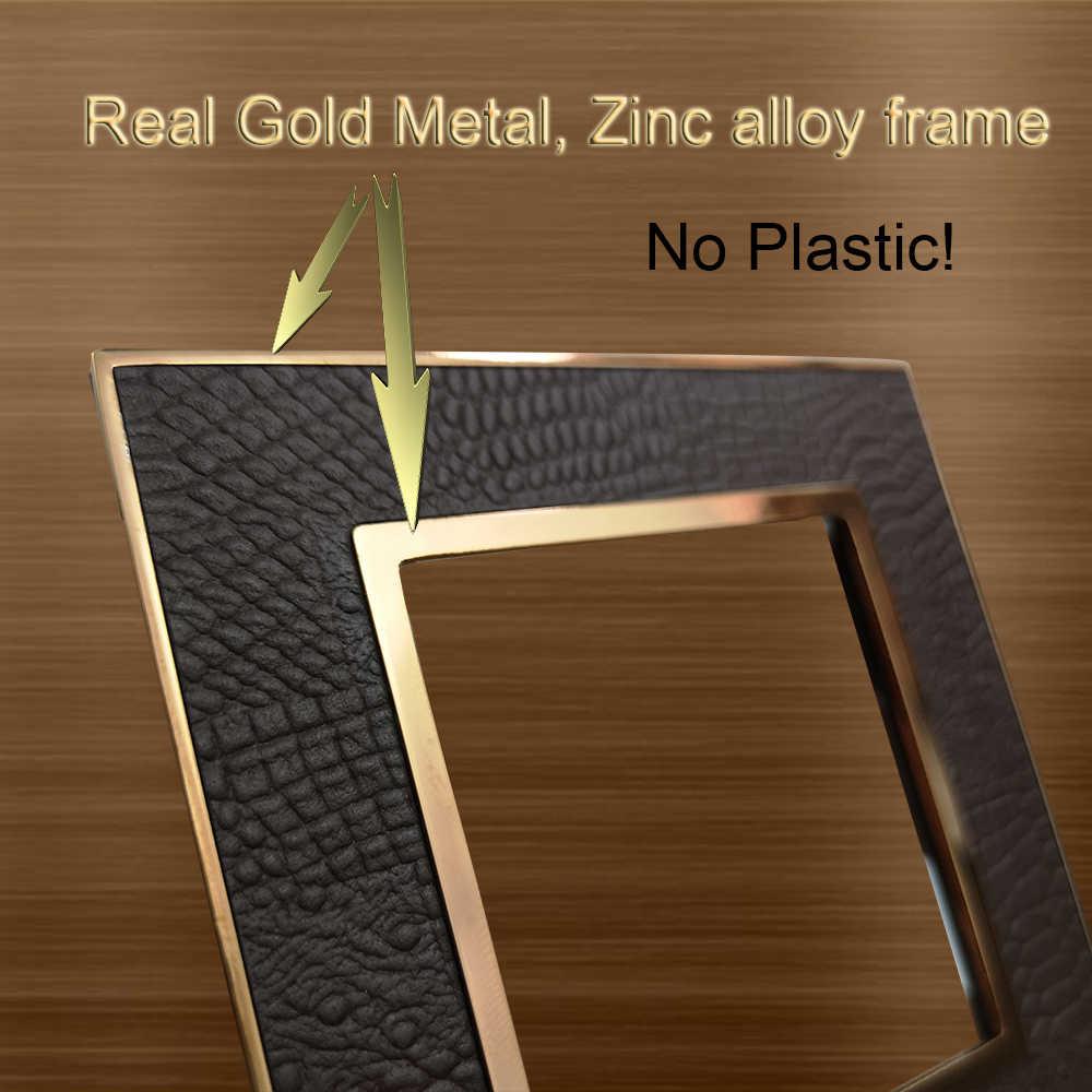 1 2 3 عصابة لحظة إعادة دفع التبديل الجدار لوحة جلدية الذهب إطار Wallpad L1 مفتاح جرس الباب