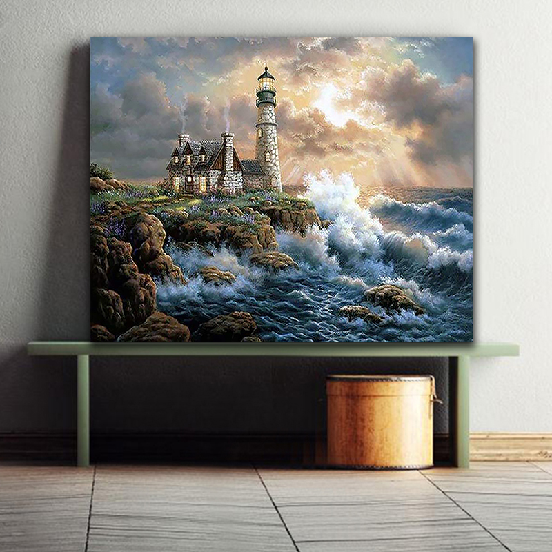 DIY Colorings Pictures By Numbers With Colors Seaside Lighthouse Night View Picture Drawing Painting By Numbers Framed Home