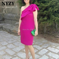 Satin One Shoulder Knee Length Fuchsia Cocktail Dresses NYZY C212 Formal Dress Party Graduation Homecoming 2019