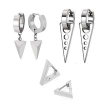 Pair/set Fashion Triangle Stainless Steel Personality Earrings  Stud Set Punk Street Style Men Women Earring 1 pair 35cm stainless steel triangle bracket zhj 3520