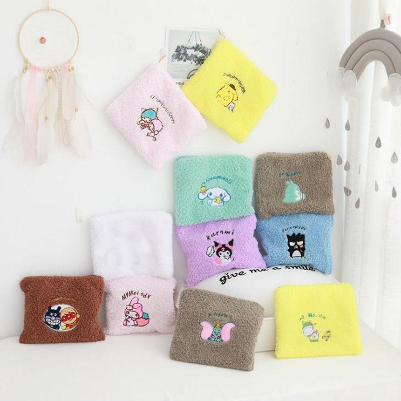 1 Pcs Cartoon Sanrio Series My Melody Pudding Cinnamoroll Dog Kuromi Plush Cosmetic Bags Portable Storage Coin Bag Plush Toys