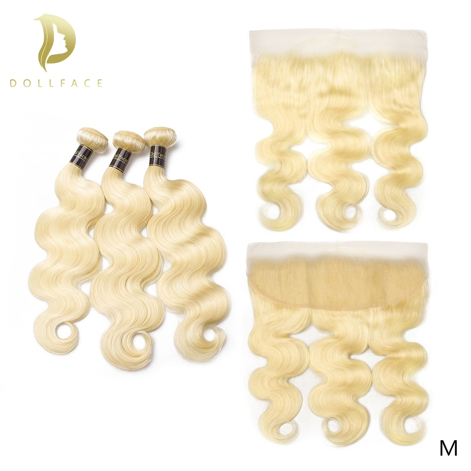 613 blonde bundles with frontal brazilian hair weave 3 4 Body Wave bundles human remy natural hair extensions 30 inch long image