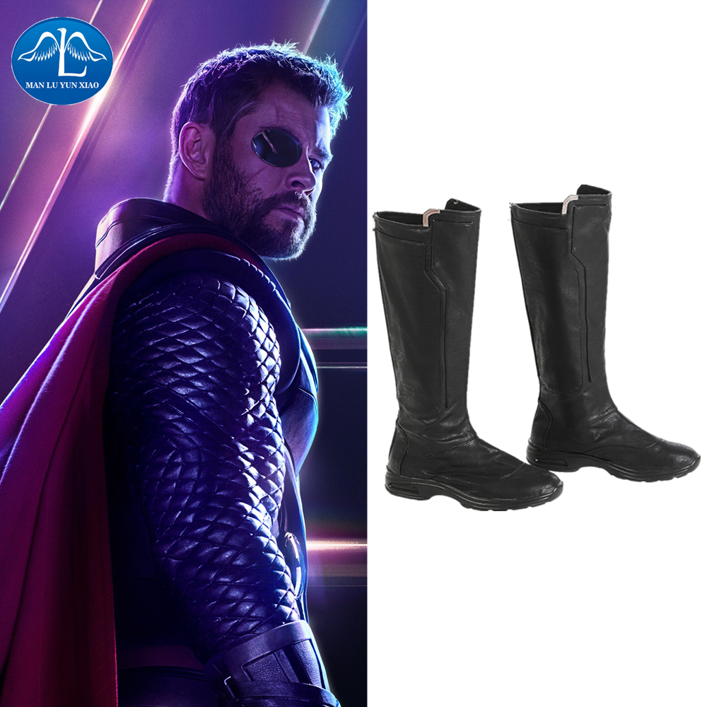 Manluyunxiao Thor Cosplay High Boots Marvel Superhero Thor Odinson Men Halloween Costume For Men Faux Leather Black Shoes