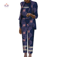 2020 African Print 3 Piece Set For Women Spring Dashiki Pant and Crop Top Bazin Riche Plus Size African Clothing for Lady WY7248