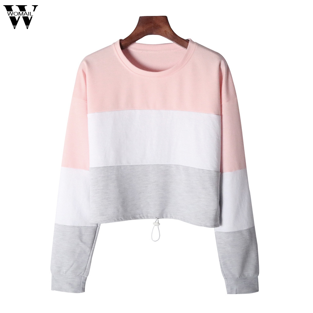 Womail Sweatshirts Women's Fashion O-Neck Patchwork Long Sleeve Sweatshirt Autumn Sweatshirt Casual Women Sweatshirt S-XL
