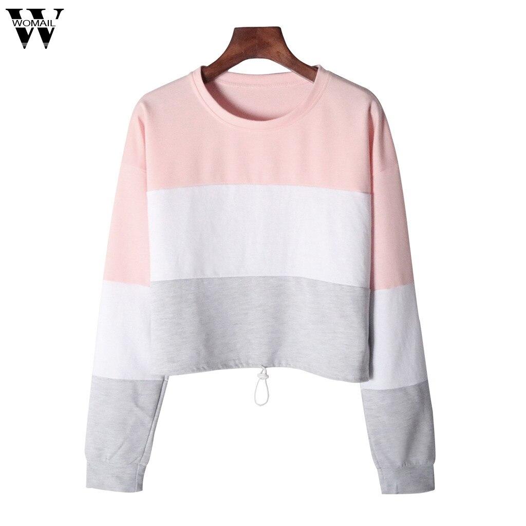Womail Sweatshirts Women's Fashion O-Neck Patchwork Long Sleeve Sweatshirt Autumn Sweatshirt Casual Women Sweatshirt S-XL
