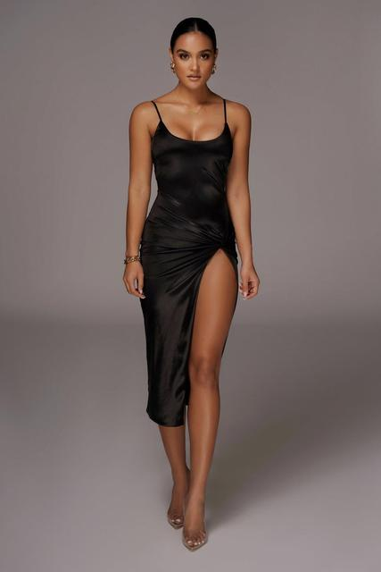 Cryptographic Spaghetti Strap Sleeveless Club Party Midi Dresses Elegant Sexy Backless Split Dress Fall Winter Solid Robe