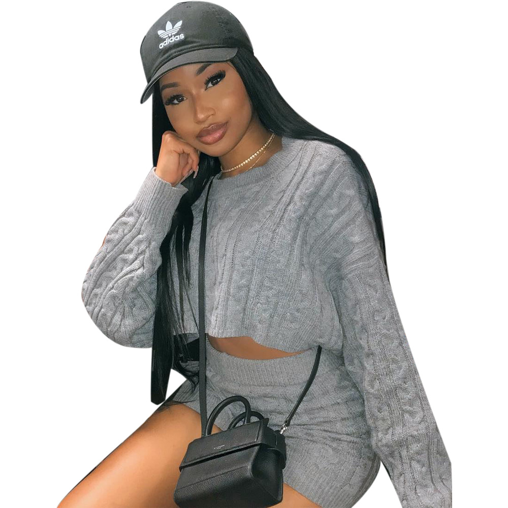 Sexy Knitted Suits For Women Tracksuit Long Sleeve Crop Top Biker Shorts Sweater Bodycon Club 2 Piece Sets Womens Outfits
