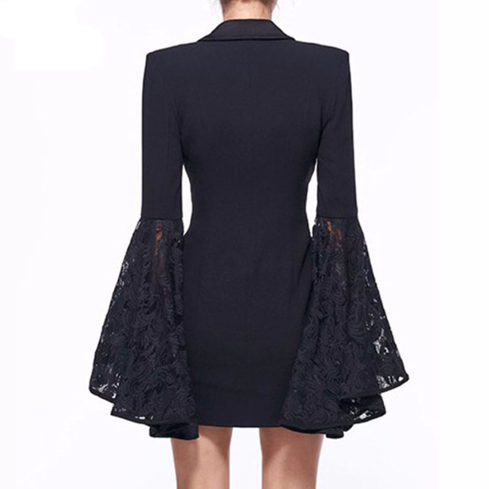Spring Autumn Large New Women's Lapel Double Breasted Trumpet Sleeve Medium Length Blazer Outerwear Business Suit with Lace